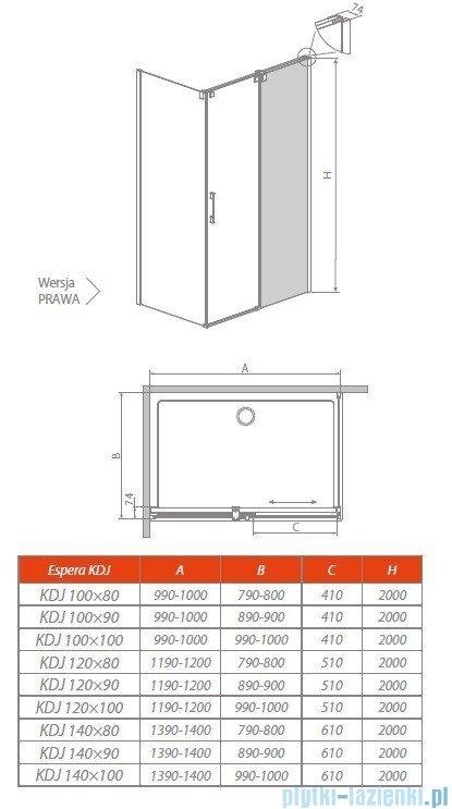 Radaway Espera KDJ Mirror kabina prysznicowa 140x90 prawa szkło przejrzyste 380134-71R/380149-01L