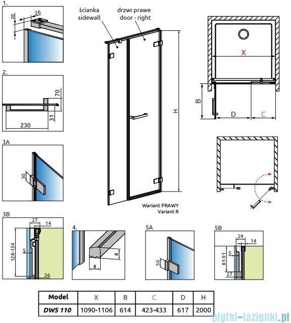 Radaway Arta Dws drzwi wnękowe 110cm prawe szkło przejrzyste 386628-03-01R/386092-03-01R