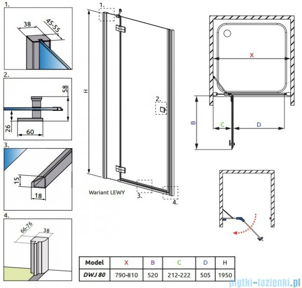 Radaway Almatea DWJ Drzwi wnękowe 80 Lewe szkło intimato 30802-01-12N