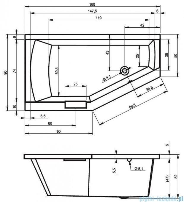Riho Geta wanna asymetryczna 160x90cm prawa z hydromasażem TOP Hydro 6+4+2 BA86T2