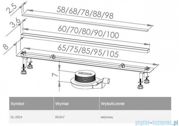 New Trendy Lux Slim odpływ liniowy 90x8x7cm satyna OL-0024
