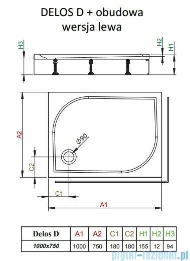 Radaway Brodzik prostokątny Delos D 100x75x15 cm z obudową lewy 4D17515-03L