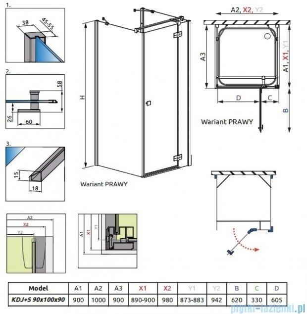 Radaway Kabina prysznicowa Almatea KDJ+S 90x100x90 prawa szkło przejrzyste + brodzik Doros D + syfon 31554-01-01R