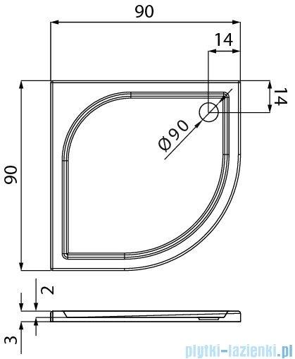 New Trendy Savos brodzik półokrągły R55 z konglomeratu 90x90x3 cm B-0351