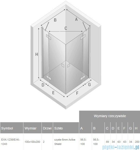 New Trendy Reflexa 100x100x200 cm kabina kwadratowa przejrzyste EXK-1238/EXK-1243