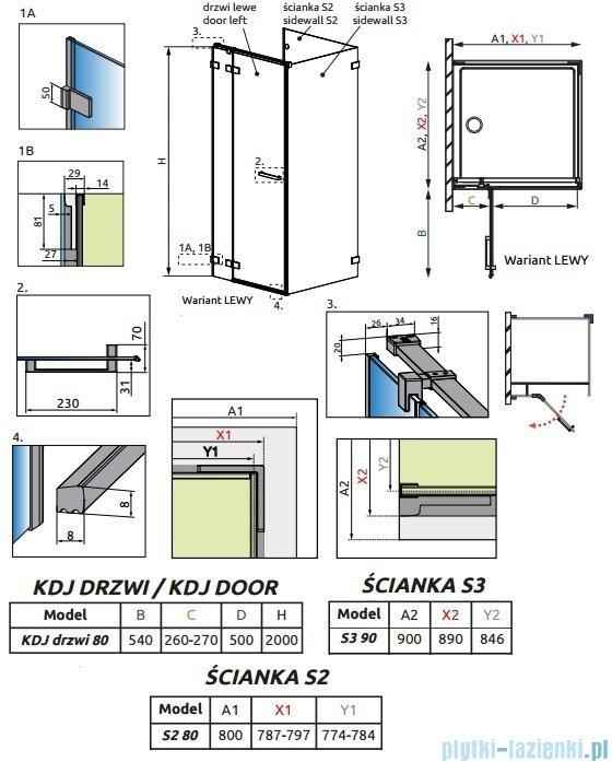 Radaway Euphoria KDJ P Kabina przyścienna 80x90x80 lewa szkło przejrzyste + brodzik Argos D + syfon  383043-01L/383031-01/383035-01/4AD89-01