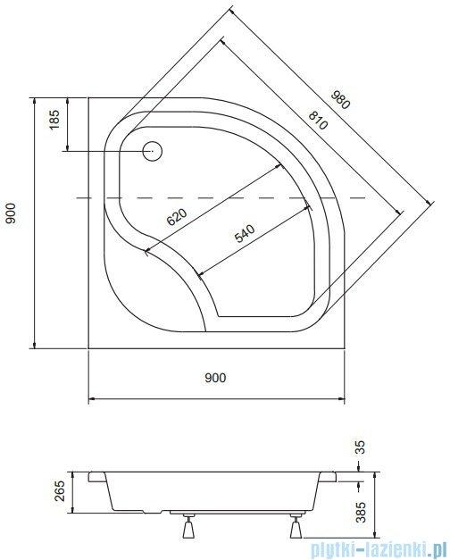 Sea Horse Sigma zestaw kabina natryskowa półokrągła - niska, 90x90 brąz + brodzik BKZ2/3/KB/
