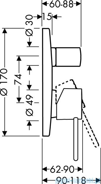 Hansgrohe Axor Uno² Jednouchwytowa bateria wannowa montaż podtynkowy 38425000