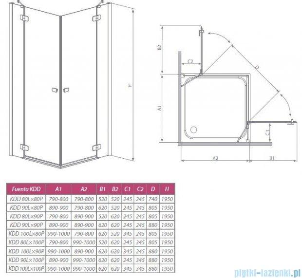 Radaway Kabina prysznicowa Fuenta KDD 90x90 szkło przejrzyste + Brodzik Argos C + syfon 381060-01N
