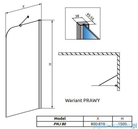Radaway Torrenta PNJ Parawan nawannowy jednoczęściowy 80 prawy szkło grafitowe 201101-105NR