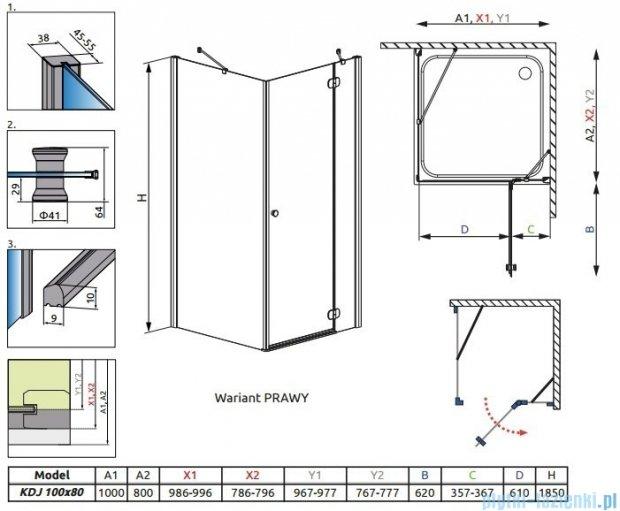 Radaway Torrenta Kdj kabina 100x80 prawa szkło przejrzyste + Brodzik Doros D + syfon 32242-01-01NR