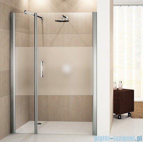 Novellini Drzwi do wnęki z elementem stałym GIADA G+F 114 cm prawe szkło przejrzyste profil srebrny GIADNGF114D-1B
