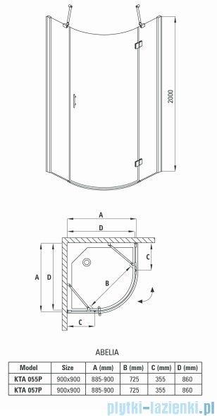 Deante Abelia kabina półokrągła trzyszybowa 90x90x200 cm prawa przyjrzyste KTA 057P