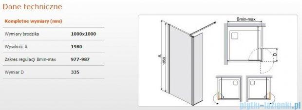 Sanplast kabina Walk-In z elementem ruchomym PR2/PRIII 100x198 cm przejrzyste 600-073-0990-38-401