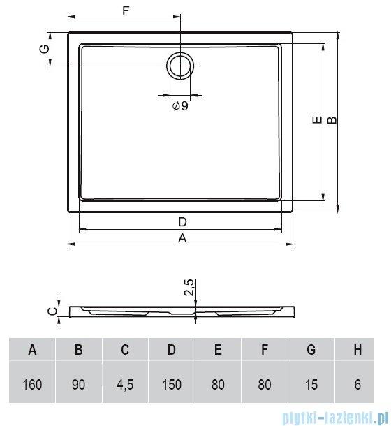 Riho Zurich brodzik prostokątny płaski 258 160x90x4,5 DA66