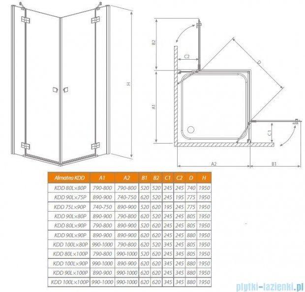 Radaway Almatea Kdd Gold kabina kwadratowa 100x100 szkło brązowe 32172-09-08N