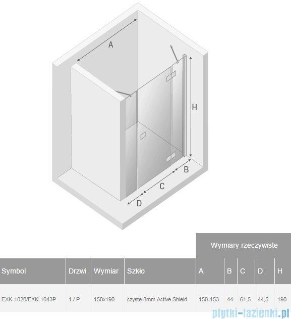 New Trendy Modena Plus drzwi prysznicowe 150cm prawe szkło przejrzyste EXK-1020/EXK-1043P