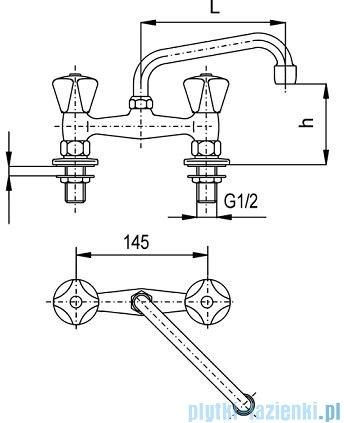KFA STANDARD Bateria umywalkowa stojąca dwuotworowa dł. 200 mm 301-590-00