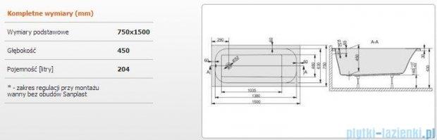 Sanplast Free Line Wanna prostokątna+stelaż WP/FREE 150x75+ST25, 610-040-0140-01-000