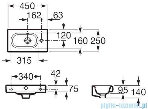 Roca Meridian-N Compacto Umywalka 45x25cm powłoka Maxi Clean A32724800M