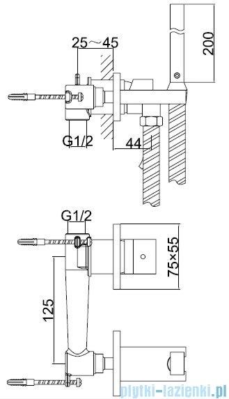 Kohlman Axis bateria bidetowa podtynkowa-bidetta chrom QW135N