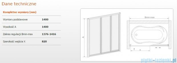 Sanplast kabina nawannowa wnękowa szkło Cora  DTr-c-W-140 polistyren 600-013-2421-01-370
