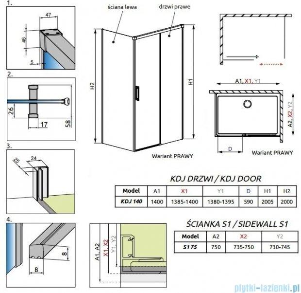 Radaway Idea Kdj kabina 140x75cm prawa szkło przejrzyste 387044-01-01R/387049-01-01L