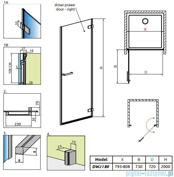 Radaway Arta Dwj I drzwi wnękowe 80cm prawe szkło przejrzyste 386071-03-01R