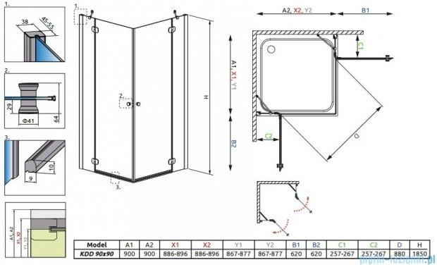 Radaway Torrenta Kdd kabina 90x90 szkło carre + Brodzik Delos C + Syfon 32252-01-10N