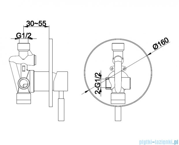 Kohlman Roxin podtynkowa bateria prysznicowa QW220R