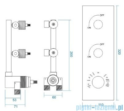 Corsan bateria podtynkowa z termostatem dwudrożna chrom CMT02