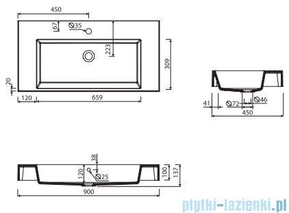 Marmorin Teo 900 umywalka wisząca 90x45 z otworem przelewowymi bez otworu na baterie biała 641090020210