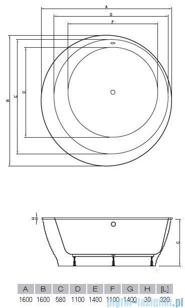 Vayer Bumerang 160x160cm Wanna okrągła wolnostojąca