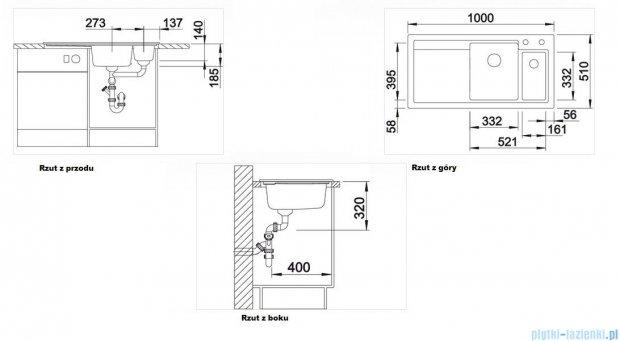 Blanco Axon II 6 S  Zlewozmywak ceramiczny komora prawa kolor: bazaltowy z kor. aut. i akcesoriami  516552