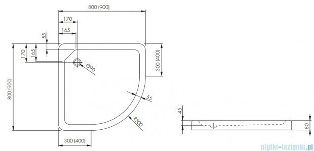 Aquaform Standard brodzik półokrągły superniski 80x80cm 200-18505
