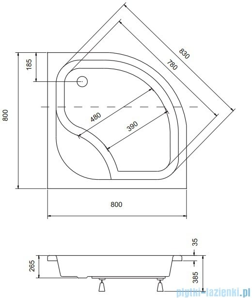 Sea Horse Sigma zestaw kabina natryskowa półokrągła niska 80x80cm A2+brodzik 24/35 chrom BKZ1/3/KB/A2/