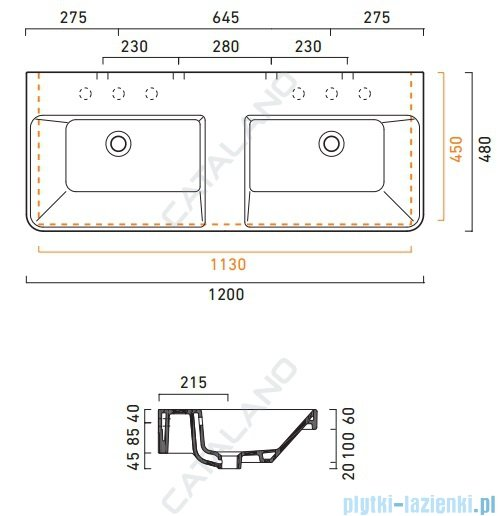 Catalano Proiezioni 120 umywalka podwójna 120x48 biała 1120PR4800