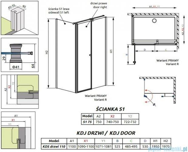Radaway Eos II Kds kabina prysznicowa 110x75cm prawa szkło przejrzyste 3799483-01R/3799409-01L