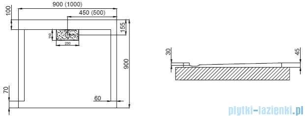 Polimat Comfort brodzik akrylowy posadzkowy 100x90 biały połysk 00160