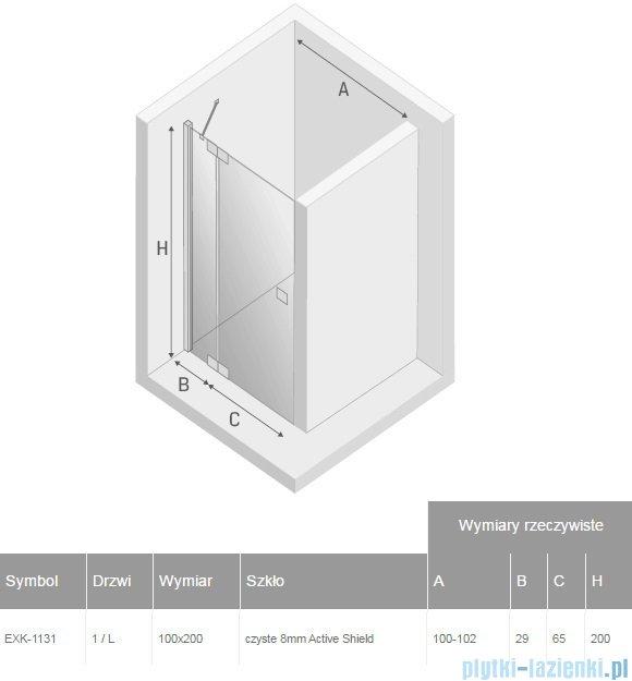 New Trendy Kamea drzwi prysznicowe 100cm lewe szkło przejrzyste EXK-1131