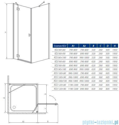 Radaway Kabina prysznicowa Essenza KDJ 90x100 prawa szkło przejrzyste + brodzik Doros D + syfon 32848-01-01NR
