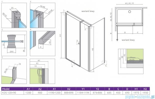 Radaway Eos KDS kabina prysznicowa 120x90 lewa szkło przejrzyste 37554-01-01NL