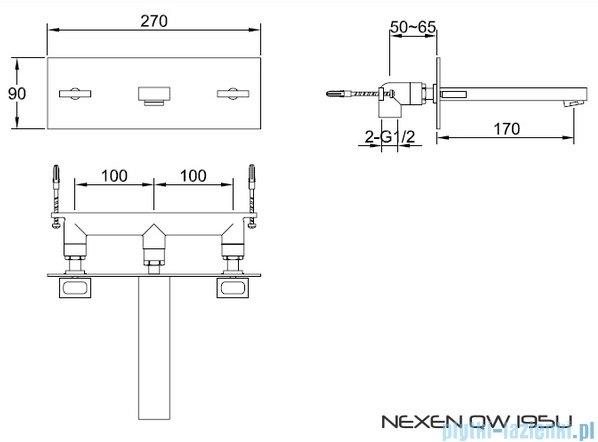 Kohlman Nexen-S Podtynkowa bateria umywalkowa SQW195U