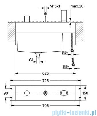 Grohe Allure 3-otworowa bateria wannowa część podtynkowa chrom 33339000