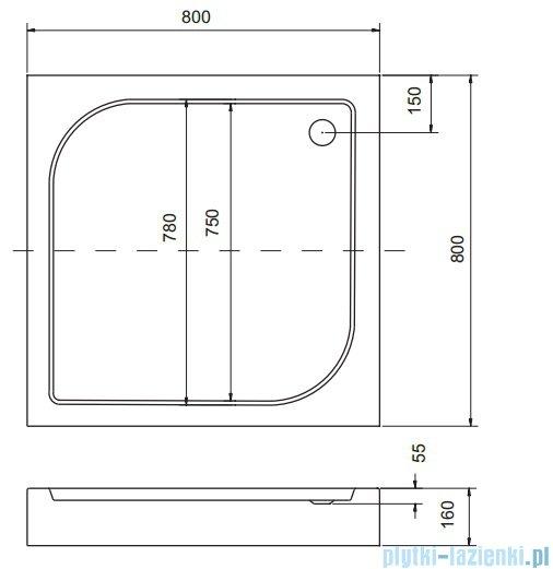 Sea Horse Sigma zestaw kabina natryskowa kwadratowa 80x80cm szkło A2+brodzik BKZ1/3/QB/A2