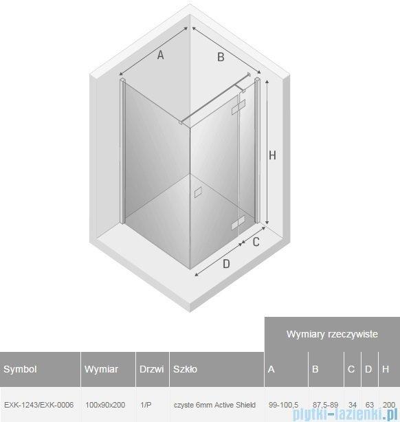 New Trendy Reflexa 100x90x200 cm kabina prostokątna prawa przejrzyste EXK-1243/EXK-0006