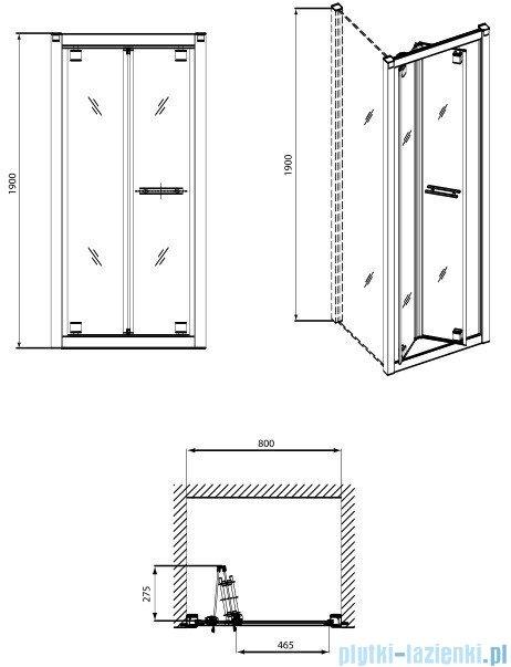 Koło Geo 6 drzwi wnękowe bifold 80 GDRB80222003