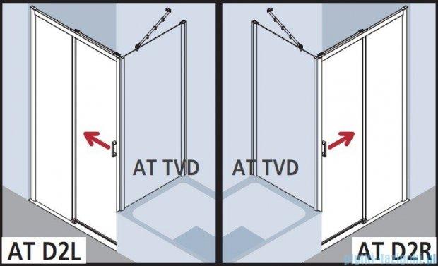 Kermi Atea Drzwi przesuwne bez progu, prawe, szkło przezroczyste KermiClean, profile białe 130x185 ATD2R130182PK