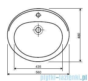Koło Nova Umywalka wpuszczana w blat 56cm z otworem 21856000