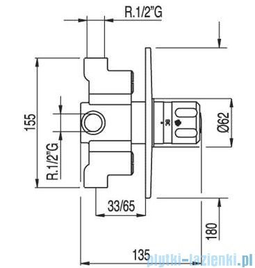 Tres Tresmostatic Bateria termostatyczna podtynkowa kolor chrom 1.90.165